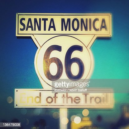 Route 66 sign at Santa Monica Pier : Stock Photo