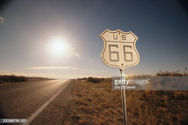 'Route 66' sign, sunset