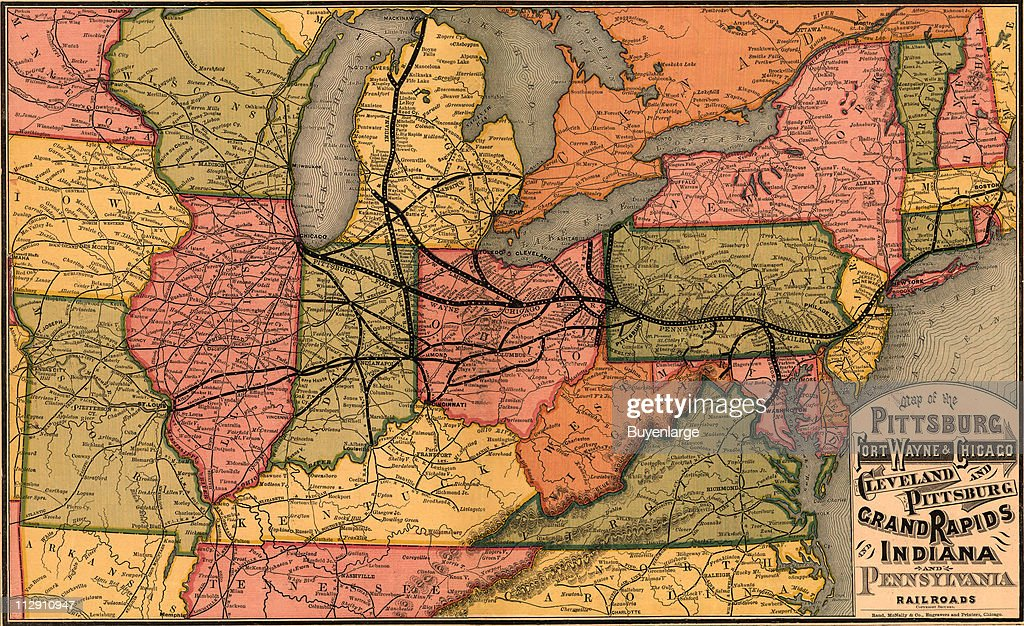 Route Map Of Several Easterns And Midwestern US Railroads Pictures - Us map pittsburgh
