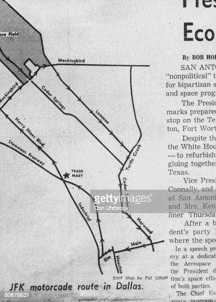 Route of John F Kennedy's motorcade on day of assassination not puplished in paper