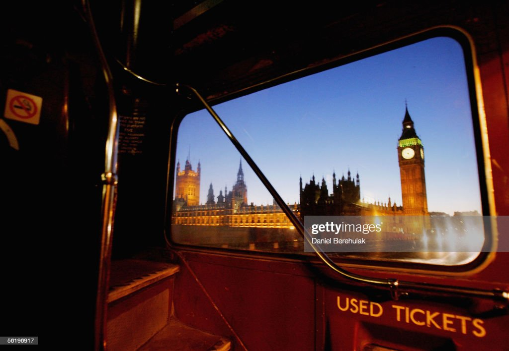 Routemaster bus makes its way through London past Big Ben adn the Houses of Parliament on November 17, 2005 in London, England. London's iconic Routemaster buses are facing final journeys in London as routes will be culled to only 2 services by December 9, 2005.