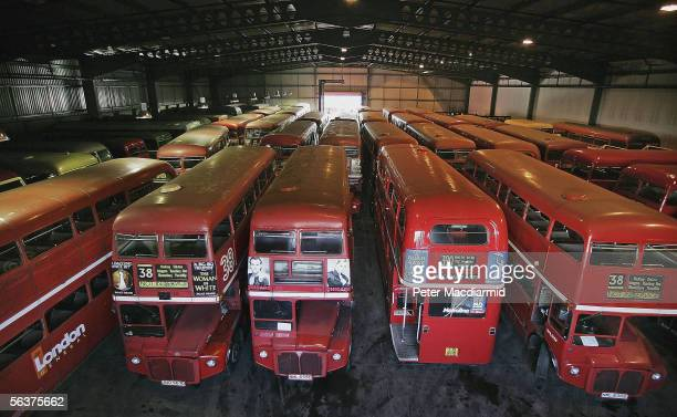 Routemaster buses are seen in storage ahead of selloff at Ensign Bus on November 22 2005 in Purfleet Essex The red Routmaster double decker London...