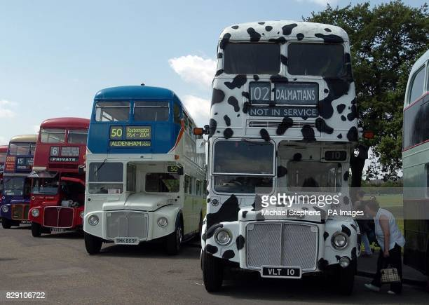 Routemaster buses lined up in Finsbury Park London to celebrate the 50th birthday of the iconic buses in the capital London mayor Ken Livingstone has...