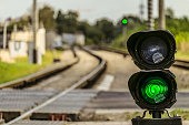 Routing traffic light with a green signal on railway. Railway crossing with semaphore. Permissive Motion. Limited depth of field.
