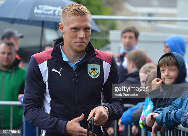 Rouwen Hennings of Burnley arrives at the stadium during the Premier League match between Burnley and Liverpool at Turf Moor on August 20 2016 in...
