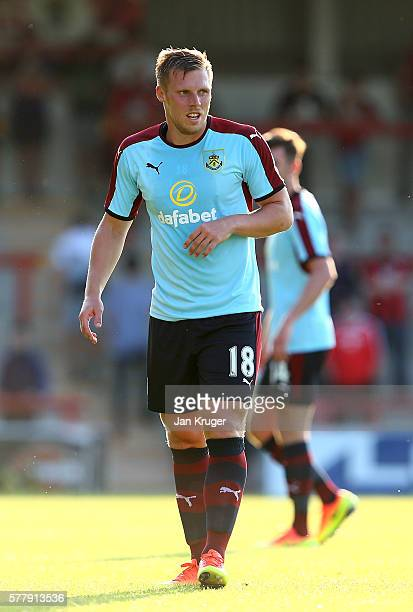Rouwen Hennings of Burnley looks on during the pre season friendly match between Morecambe and Burnley at Globe Arena on July 19 2016 in Morecambe...
