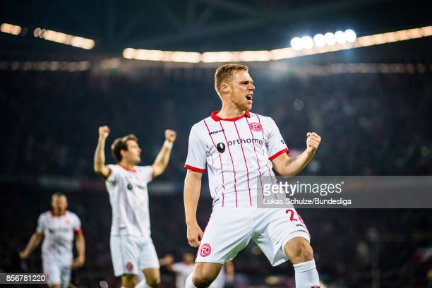 Rouwen Hennings of Duesseldorf celebrates his teams first goal during the Second Bundesliga match between Fortuna Duesseldorf and MSV Duisburg at...