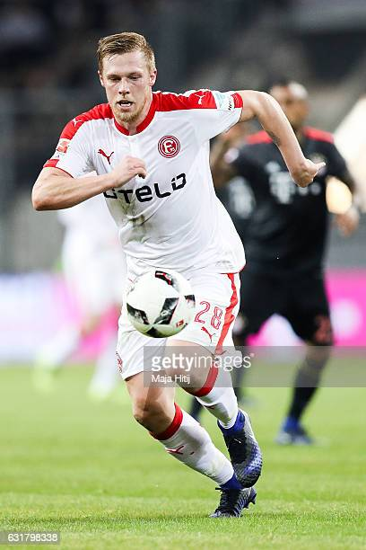 Rouwen Hennings of Duesseldorf plays the ball during the Telekom Cup 2017 match between Fortuna Duesseldorf and Bayern Muenchen at EspritArena on...