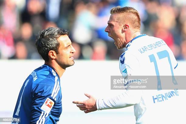 Rouwen Hennings of Karlsruhe celebrates scoring the 2nd team goal against Ramazan Oezcan keeper of Ingolstadt during the Second Bundesliga match...