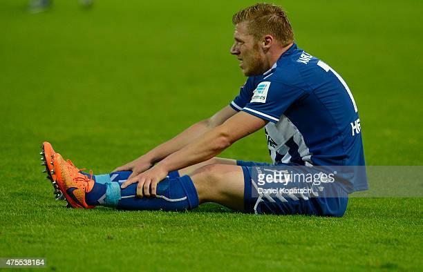 Rouwen Hennings of Karlsruhe reacts after the Bundesliga playoff second leg match between Karlsruher SC and Hamburger SV on June 1 2015 in Karlsruhe...