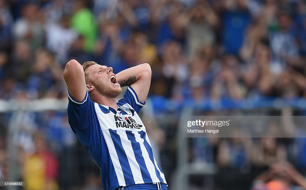 Rouwen Hennings of Karlsruhe reacts during the Second Bundesliga match between Karlsruher SC and 1860 Muenchen the at Wildpark Stadium on May 24 2015...