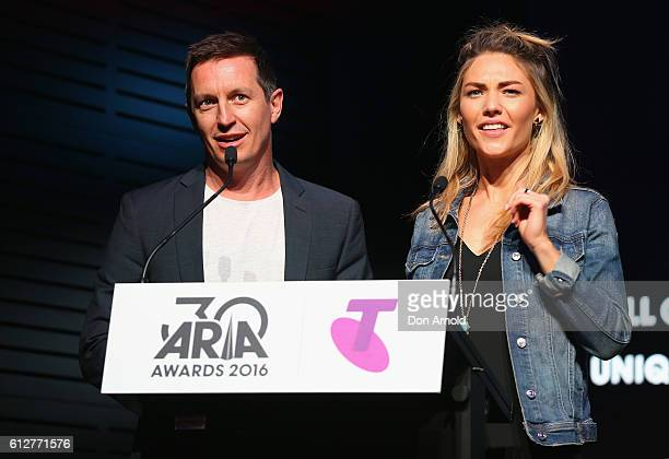 Rove McManus and Sam Frost address the media at the 30th Annual ARIA Nominations Event on October 5 2016 in Sydney Australia