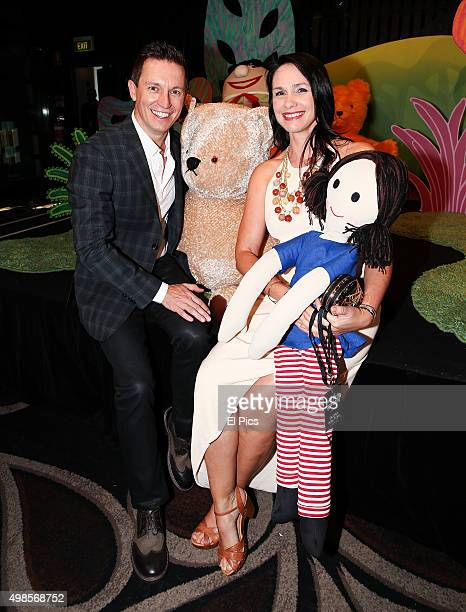 Rove McManus and Tasma Walton meet Jemima and Little Ted from Playschool whilst they attend the 2016 ABC upfronts showcase in Pyrmont on November 24...