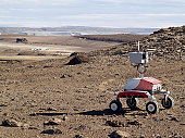 K-10 Rover Red uses its 3-D scanning systems during field tests in the frost rubble zone of Earth.