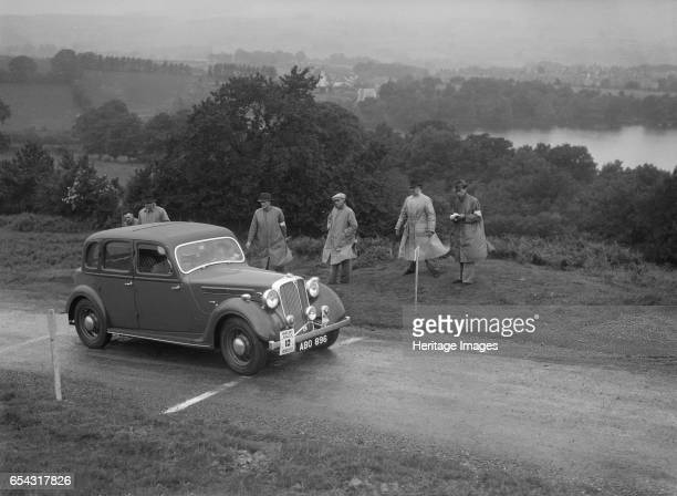 Rover saloon of DB Morgan competing in the South Wales Auto Club Welsh Rally 1937 Artist Bill Brunell Rover Saloon 1937 Vehicle Reg No ABO896 Event...