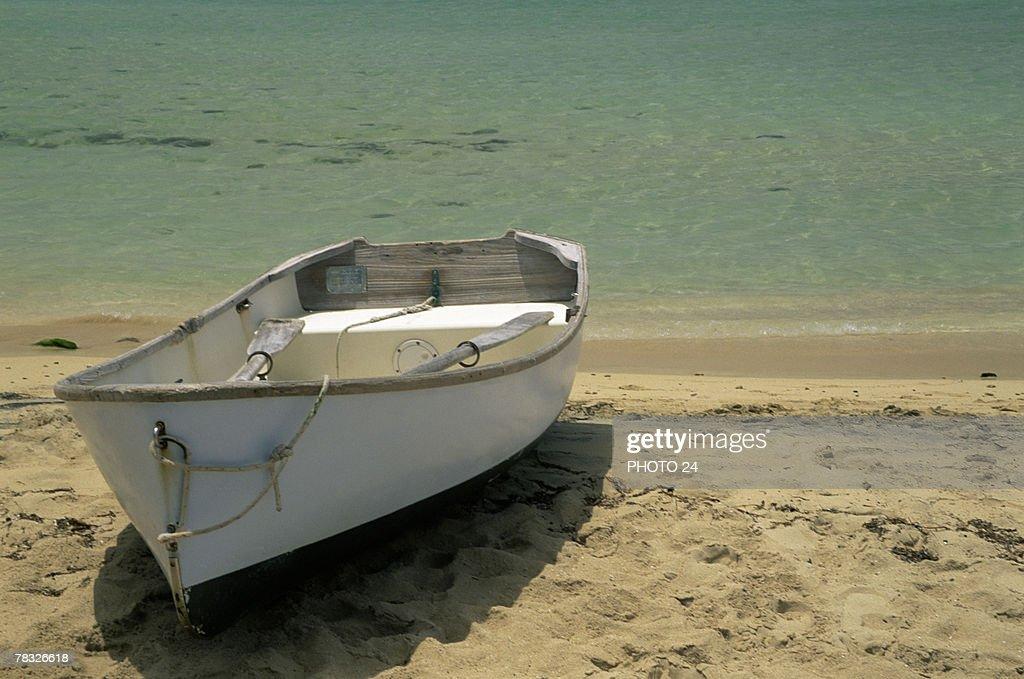 Row boat on shore : Stock Photo