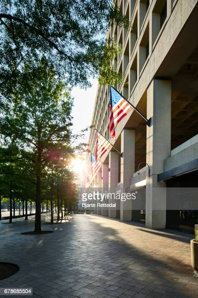 Row of American Flags outside the J. Edgar Hoover Building