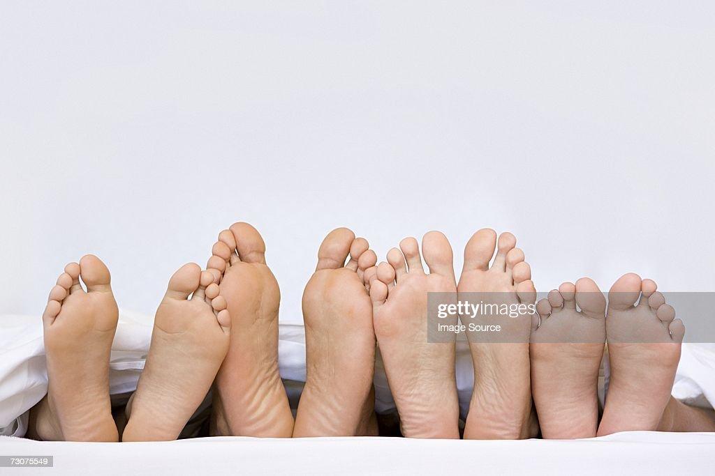 A row of bare feet : Stock Photo