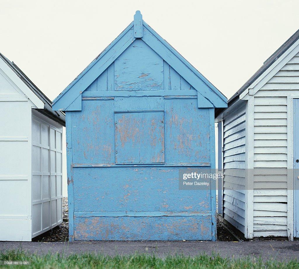 Row of beach huts, close-up : Stock Photo