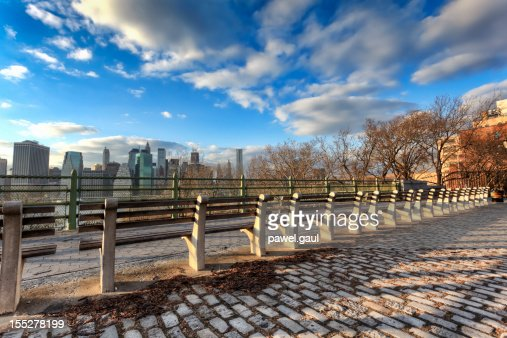 Row of benches facing Manhattan