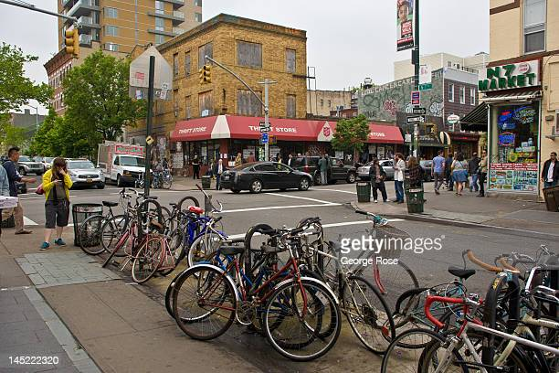 A row of bicycles are parked at the 7th Ave subway station in Williamsburg on May 5 2012 in New York City Over the past five years Williamsburg has...