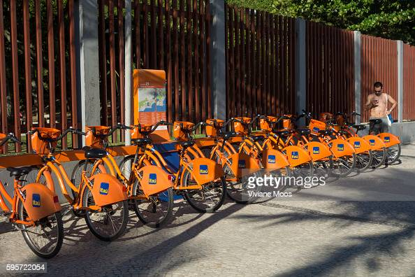 A row of bikes at a Bike Rio rental station located in Ipanema Bike Rio is a public bicycle sharing system in the city of Rio de Janeiro sponsored by...