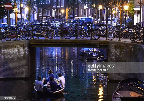 A row of bikes chained up for the night are viewed in the capitol city of Amsterdam July 15 2013 While recently New York City is introducing a bike...