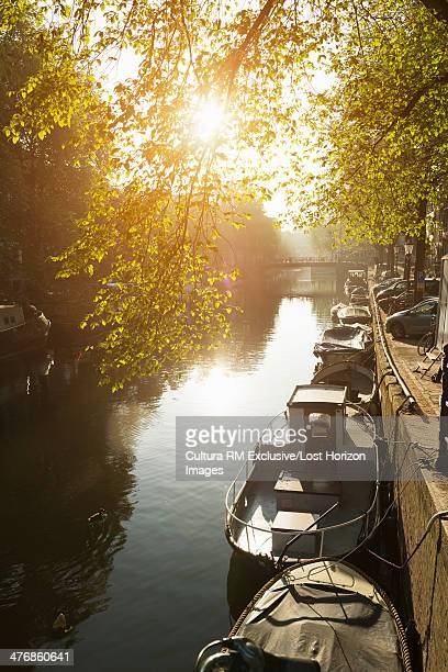 Row of boats on canal, Amsterdam, Netherlands