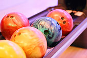 Row of bowling balls
