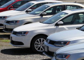 A row of brand new Volkswagen Jettas are seen on a lot at a Volkswagen dealership on March 28 2011 in San Rafael California Volkswagen of America...