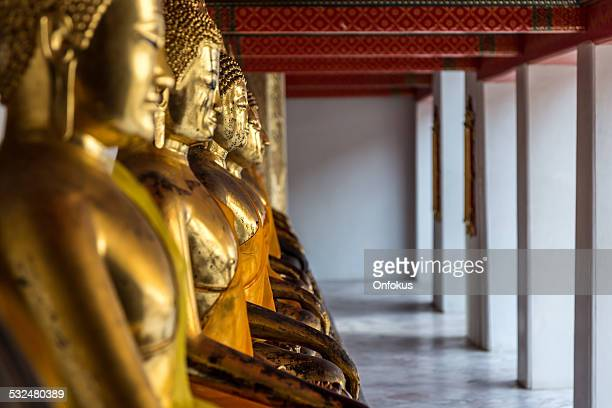 Row of Buddhas in a temple