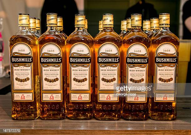 A row of Bushmills Irish Whiskey bottles are on display at the 6th Annual Pebble Beach Wine Food Festival on April 7 in Carmel California Chefs and...