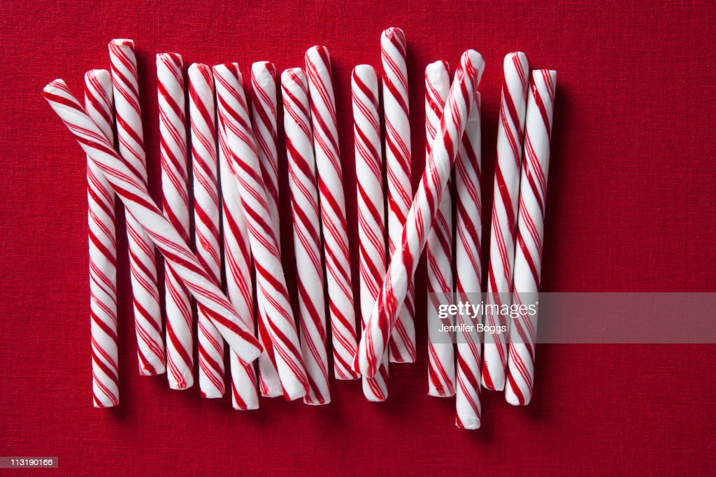 Row of candy canes : Stock Photo