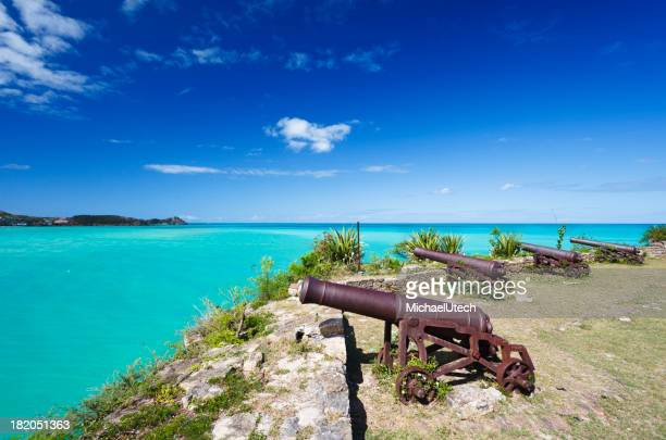 Row Of Cannons Overlooking Turquoise Caribbean Sea