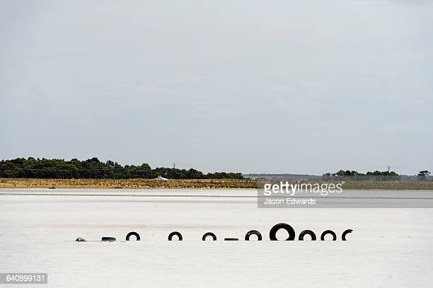 A row of car tires imbedded in a dry salt lake bed on a farm.