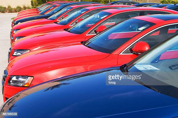 Row of cars in car lot