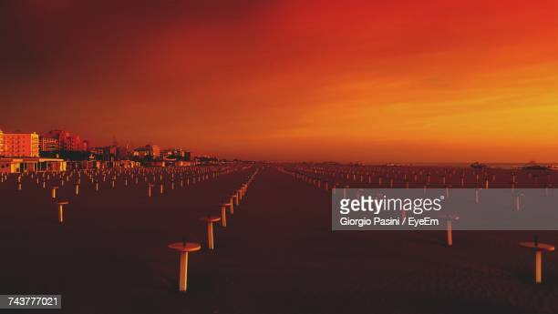 Row Of Cemetery Against Sky During Sunset