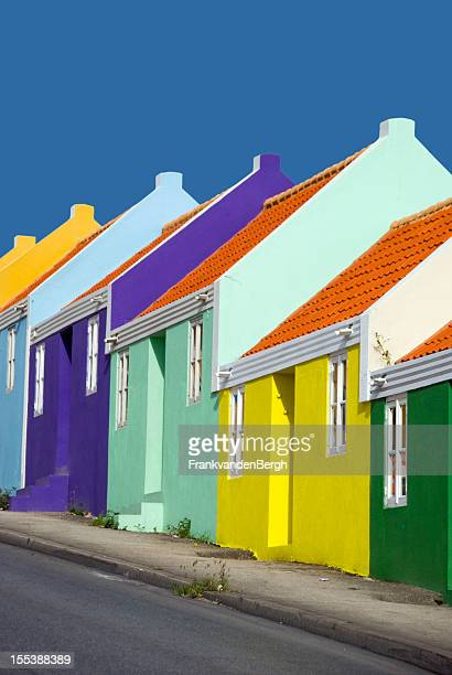 Row of colorful caribbean houses