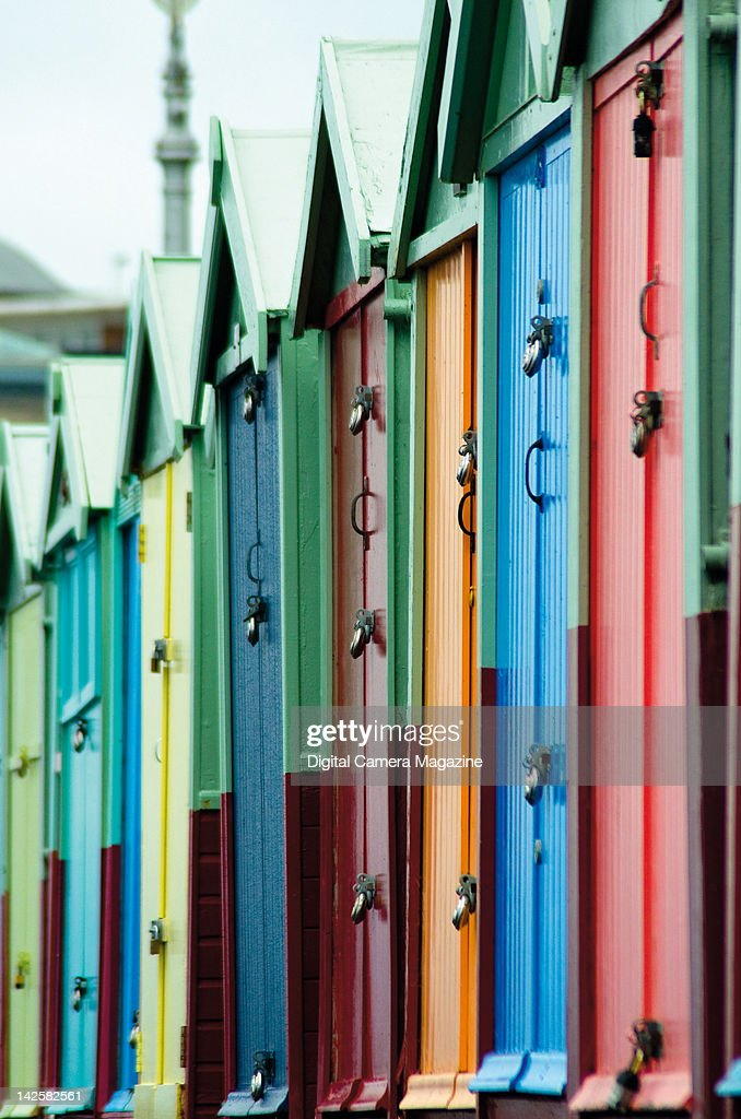 A row of colourful changing rooms at Brighton beach, taken on August 24, 2011.
