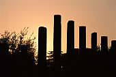 Row of columns at sunset
