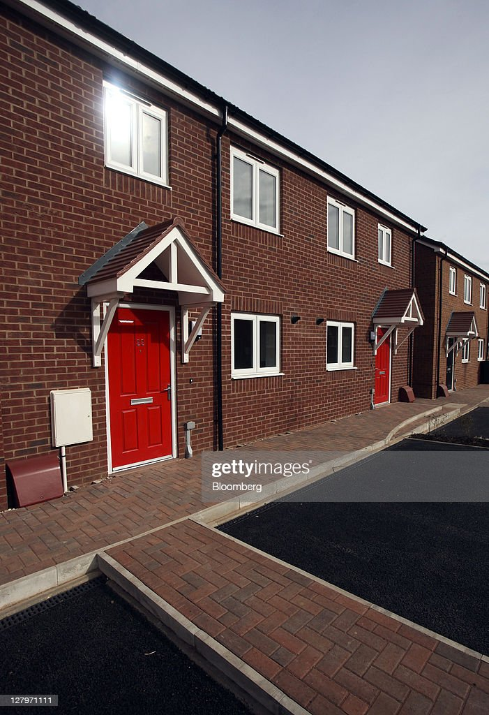 A Row Of Completed Space4 Ltd Homes Built By Persimmon Plc Sit On Their Residential Development