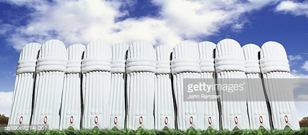 Row of cricket pads outdoors