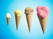Row of different flavor ice creams in growth