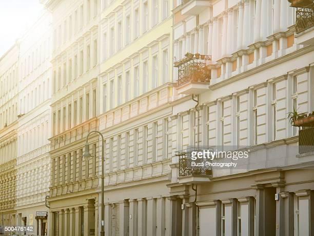Row of facades of buildings in the East Berlin district of Prenzlauerberg, Berlin