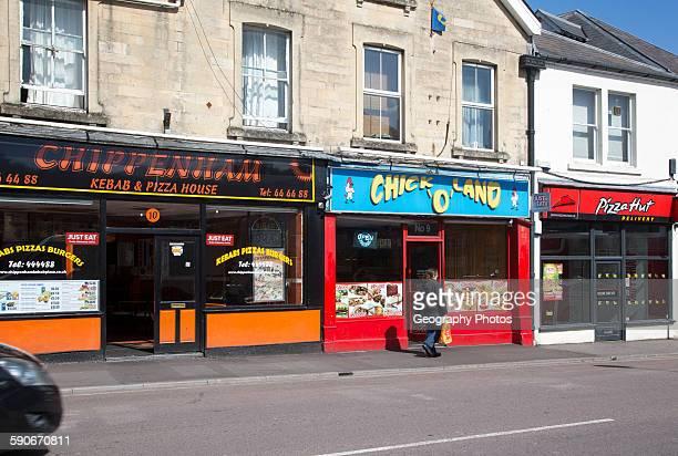 Row of fast food takeaway restaurant shops Chippenham Wiltshire England UK