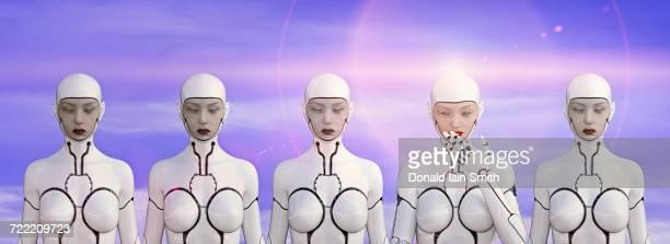 Row of female cyborgs