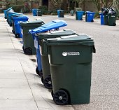 many green and blue bins for garbage and recycling out on street on collection day