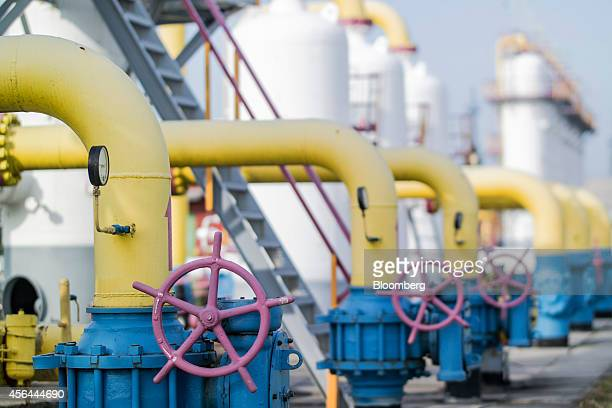 A row of gas pipes with pressure gauges are seen standing at the Opary underground gas storage facility operated by UkrTransGaz a unit of NAK...
