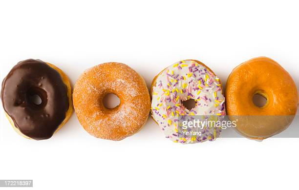 Row of Glazed Donuts Breakfast Pastry Isolated in White Background