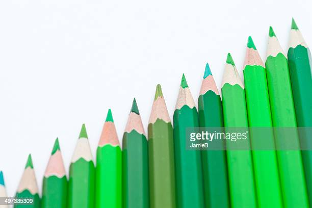 Row of green pencils